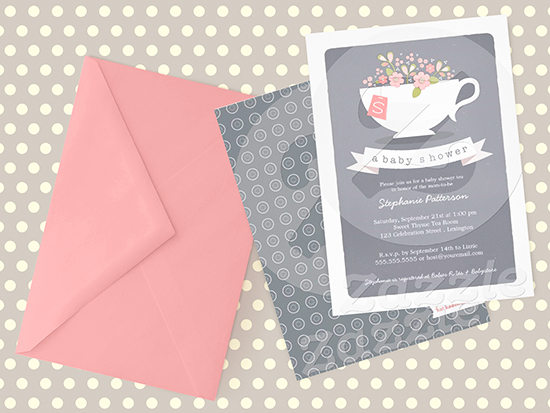 grey and pink teacup baby shower invitation